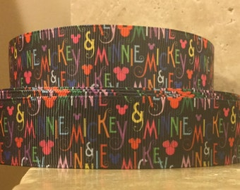 5 YDS Multicolored Mickey Mouse Minnie Mouse Ribbon