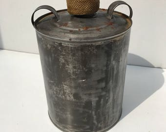 Old bottle raw finish + handles Vintage Metal Tin