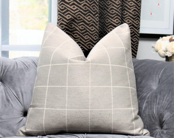 Pewter Gray Pillow Cover - Medium Grey Check Throw - Plaid Pillow - Gray and Ivory Designer Pillow