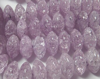 Quartz Beads 16 X 10mm Smooth Lilac Cracked Crystal Quartz Rondelles - 12 Pieces