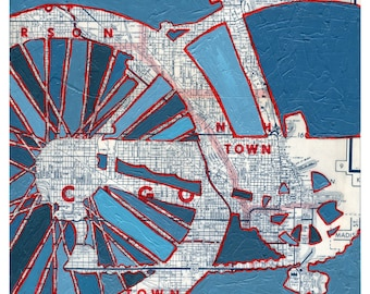 Grant Park-Chicago - small print -- vintage map bike print featuring Grant Park, Chicago, Illinois