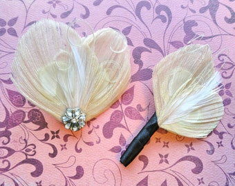 Ivory Wedding Set - Ivory Peacock Feather Hair Clip and Matching Boutonniere