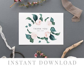Printable Thank You Card INSTANT DOWNLOAD, Wedding Favor Card, DIY Printable Decorations, Templett, Editable pdf, Leaves, The Duchess