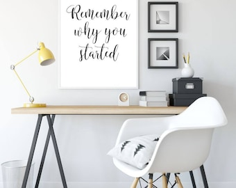 Remember Why You Started Printable Poster, Printable Sign, Quote Wall Art, Home Decor, Inspiration Poster, Printable Quote, Motivational