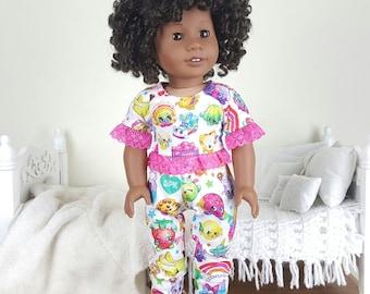"18 inch doll ""shopkins"" pajamas   pj pants   pajama shirt"