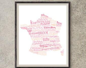 Carte de France des pâtisseries poster cuisine art pour cuisinier poster France déco cuisine poster restaurant