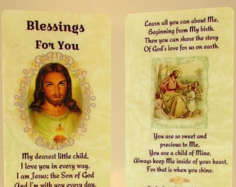 "Christian Child Bookmark~""Blessings For You"" Prayer~Original Poetry~Teaching About Jesus~Sunday School Gift~Youth Group Gift~Trusting Souls"