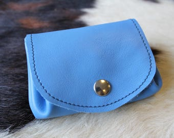 leather wallet. Blue wallet; blue leather purse. coin purse