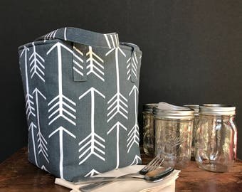 Arrows Mason jar carrier bag, Pint 4 jar Jars to Go bag, lunch picnic shopping tote bag