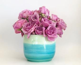 Green Blue Ombré Orchid Pot