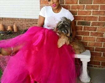Tulle Skirt PLUS SIZE Tutu Hot Pink | Fuschia Skirt Floor length  Full Tulle
