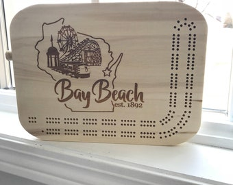 Custom Cribbage Board with Markers - Bay Beach Wisconsin  WI