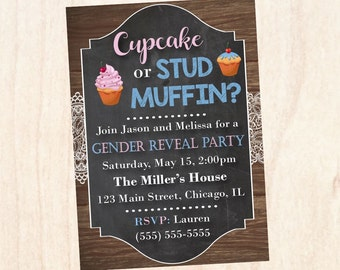 Cupcake or Stud Muffin Gender Reveal Party Invitation PRINTABLE baby shower invite digital boy or girl
