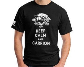 Keep Calm and Carrion Vulture T-shirt Tshirt Shirt Carry On Turkey Vultures Raptor Bird