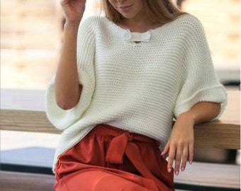 White sweater Sale Fashion sweater Stylish clothing for women Warm women's clothing Knitted sweater autumn winter sweater Spring sweater