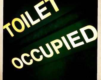 Airplane Toilet Occupied Sign, Airline Decor, Aviation Decor, 10x10 Photograph, Aircraft Sign, Airline, Bathroom Decor, Aviation Symbol