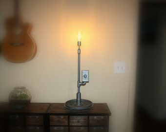 Industrial Lamp / RACECAR GEAR / Steampunk / UpCycled / RePurposed Parts / Industial Chic / Desk Lamp / Table Lamp