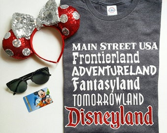 The Lands Tee!  Main Street USA, Frontierland, Adventureland, Fantasyland, Tomorrowland...Disneyland - Great For a Disney Vacation!