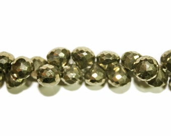 """REDUCED: Pyrite faceted """"onion"""" teardrops.  Approx. 7x8mm - 9x9mm.   Select a quantity."""
