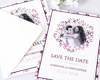 """Save The Date Cards - 5"""" x 7"""" Shades of Purple Wedding Announcement Cards - Save The Dates - Personalized Save the Dates - Photo Cards"""