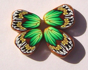 Green Gold Butterfly Wing Handmade Artisan Polymer Clay Beads