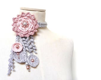 Crochet Cotton Lariat Necklaces - Light Grey Leaves and Powder Pink Flower with Glass Pearls - LITTLE PEONY