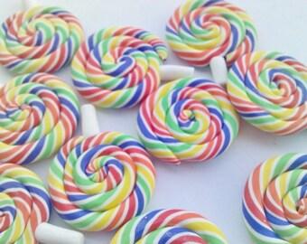 Rainbow Swirls  Colorful Candy Lolli Pop Suckers Polymer Clay Flatback Cabochon Sweets Stick Dessert AZ369