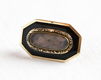 Sale - Antique Hair Brooch - Gold Filled Black Enamel Mourning Pin - Vintage Mid 1800s Victorian Collectible Remembrance Woven Hair Jewelry