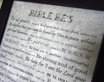 Bible Be's Framed Scripture Memory Verses Christian Home Decor Black Grey Gray Marbleized Paper