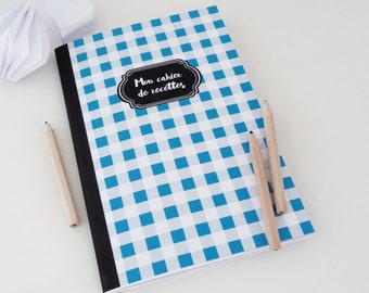 Illustrated with blue and gray gingham 14x20cm recipe book