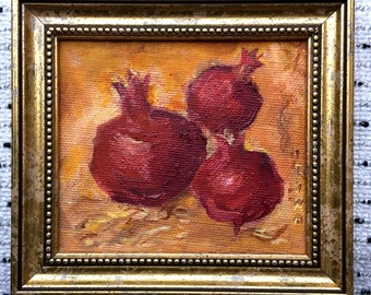 Still Life Oil Painting - Original Oil Painting - Three Pomegranates