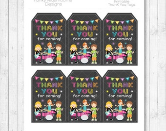 Rock Stars Gift tags, Rock Star thank you note, Rock Star thank you tags, Rock Stars birthday, Rock Star party, printable, INSTANT DOWNLOAD