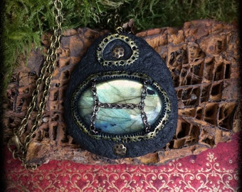 new price! big labradorite pendant witch dark goth steampunk occult mystic