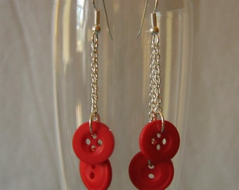 Cherry Rose Red Buttons Dangling Duster Earrings