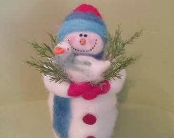 """Just Ducky Felted Wool 7"""" Snowman Ornament - NEW for 2017"""