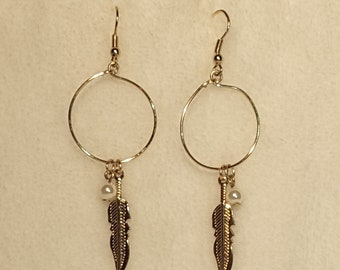 Gold Tone Native American Style Earrings