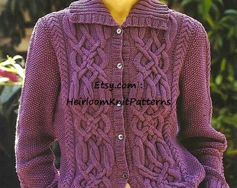 Women's Celtic Cable Cardigan and Sweater Knitting Pattern 32-42'' DK/ 8ply Ladies Vintage Cardigan Pattern Instant download PDF - 310