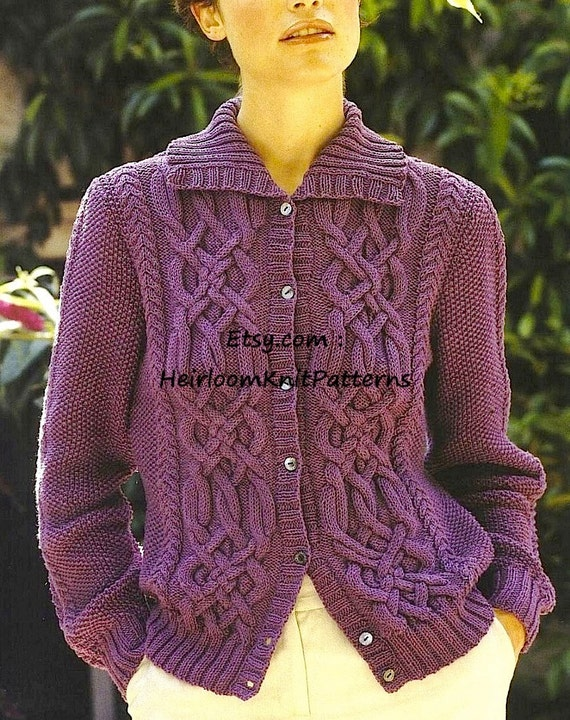 Womens Celtic Cable Cardigan And Sweater Knitting Pattern