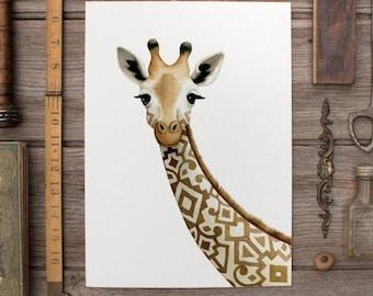 Patterned Giraffe Illustration - Safari Animal Nursery Art - Giraffe Theme Watercolour Print - Painting by Alicia's Infinity