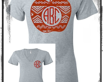Apple Aztec Monogram Shirt Great for Teachers and Students
