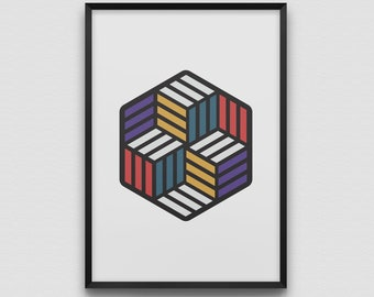 Impossible Hexagon Art Print Illustration Graphic Design Modern