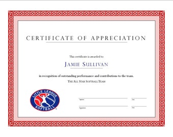 Custom Award Certificate