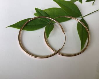 Large Rose Gold heavy played Sterling hoops / Rose Gold hoops/large hoops/ Sterling Silver hoops/Rose Golds/ endless hoops