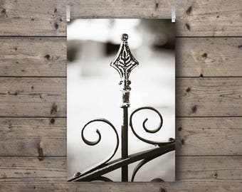 Cemetery Fleur / Black and White Photography Print / Graveyard Wrought Iron Fence / Fleur-de-lis Wall Art / Patina Rustic Home Decor