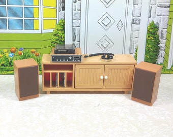 TOMY STEREO CABINET Complete with All Accessories, 1970's, Lundby 1:18 Scale, Hard Plastic, Vintage Dollhouse Kitchen Furniture