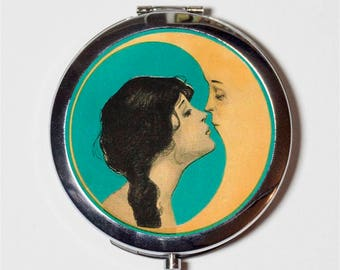 Moon Kiss Compact Mirror - Romantic Man in the Moon Kissing Art Nouveau - Make Up Pocket Mirror for Cosmetics