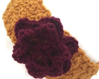 Crochet headband, Flower headband, Crochet earwarmer, Womans headband, Textured headbands, Handmade headband, Headbands for women, Earwarmer