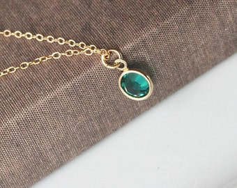 Channel Drop Birthstone Necklace, Birthstone Gift Ideas, Gold Framed Swarovski Crystal Custom Necklace, Graduation Gift, Personalized Gift