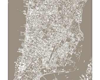 New York City Cityscape Print / NYC Graphic City Map Wall Art / 8x10 / Choose your Color