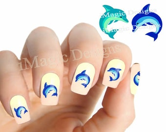 Nail Decals, Water Slide Nail Stickers, Dolphin